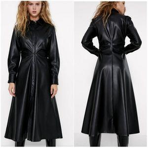 NWT ZARA | Black Faux Leather Midi Dress
